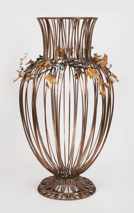 Kim Cridler - Jar with Oak, 2016, bronze, steel, nickel, silver, butterfly wing, 32 by 21 by 21 inches