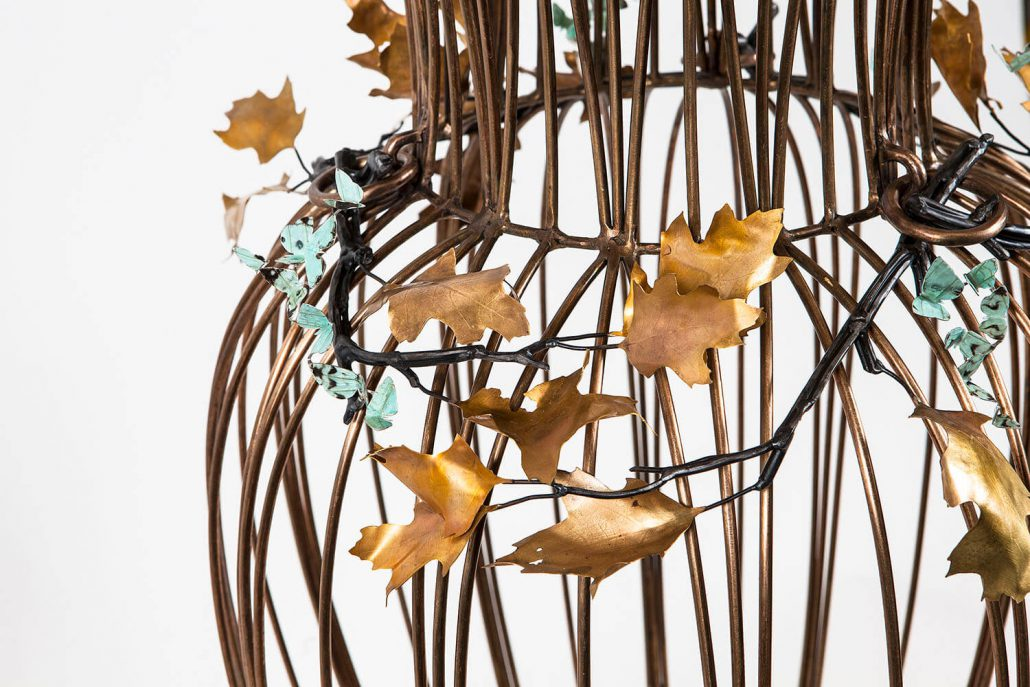 Kim Cridler - Jar with Oak (detail), 2016, bronze, steel, nickel, silver, butterfly wing, 32 by 21 by 21 inches