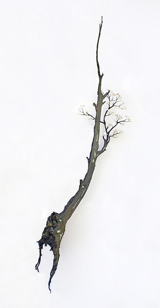 Kim Cridler - Limb 3, 2020, steel, sterling silver, freshwater pearl, 97 x 24 x 12 inches
