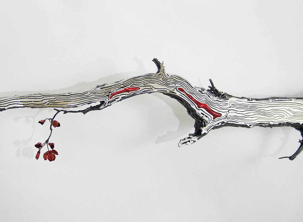 Kim Cridler - Limb (detail) (SOLD), 2016, steel, coral, copper, 109 by 28 by 10 inches
