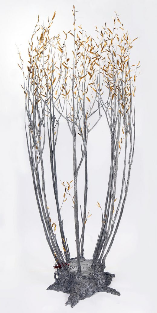 Kim Cridler - Field Study: Suckering Willow (SOLD), 2014, steel, bronze, paint, 80 by 32 by 32 inches