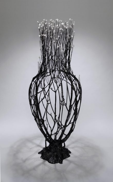 Kim Cridler - Field Study 20: Thicket (SOLD), 2013, steel, bronze, silver, hematite, 78 by 32 by 32 inches