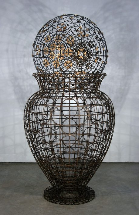 Kim Cridler - Urn with Bees (SOLD), 2015, steel, bronze, 70 by 35 inches