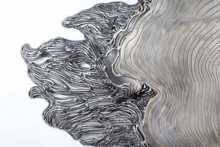 Kim Cridler - Witness Tree (detail) (SOLD), 2016, steel, mother of pearl, 58 by 56 by 6 inches