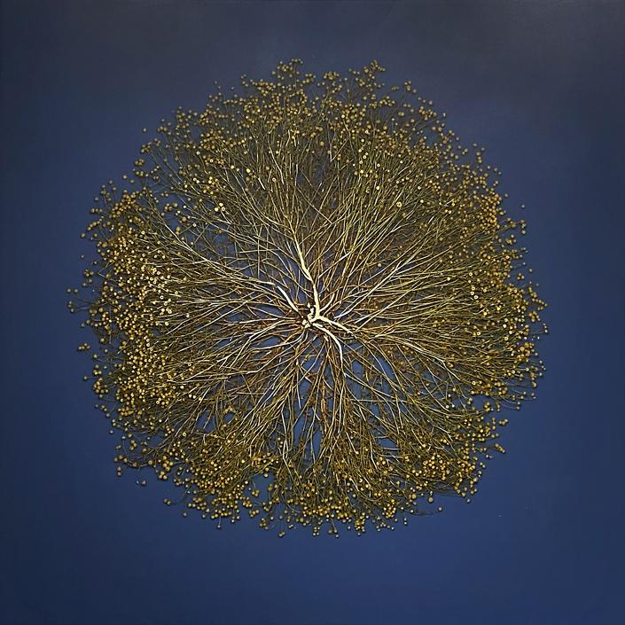Mayme Kratz - Vanishing Light 18 (SOLD), 2020, resin, chamomile on panel, 36 x 36 inches