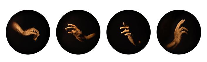 Luis González Palma - Estudio de la Anunciación: de Boticelli, 2006, archival inkjet print, 28 inch diameter each