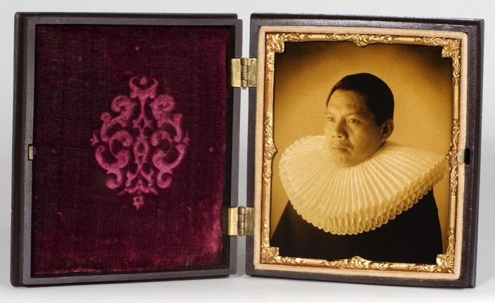Luis González Palma - Bodyguard #9, 2009, gold toned ambrotype with antique case, 4.5 by 3.75 inches