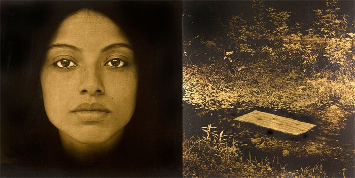 Luis González Palma - Colchoncito, 2008, toned gelatin silver print, resin, gold leaf, 20 by 40 inch diptych