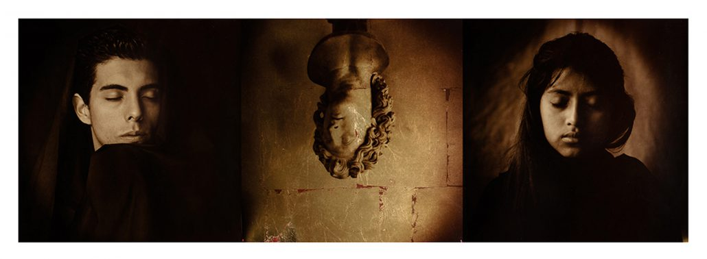Luis González Palma - Escena 8, 2008, gold leaf on hand-painted photo paper, 12 by 35.5 inches, edition of 7