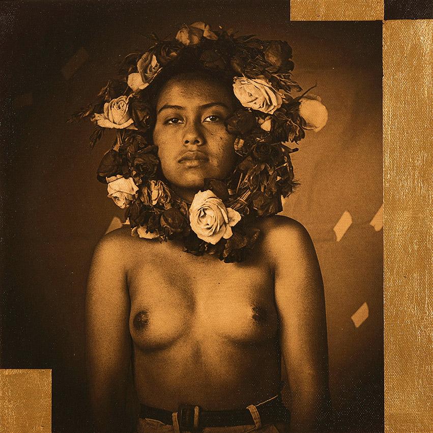 Luis González Palma - Mobius (La Rosa), 2019, photograph on canvas, gold leaf, Judea Bitumen, 11.75 by 11.75 inches unframed, edition of 5