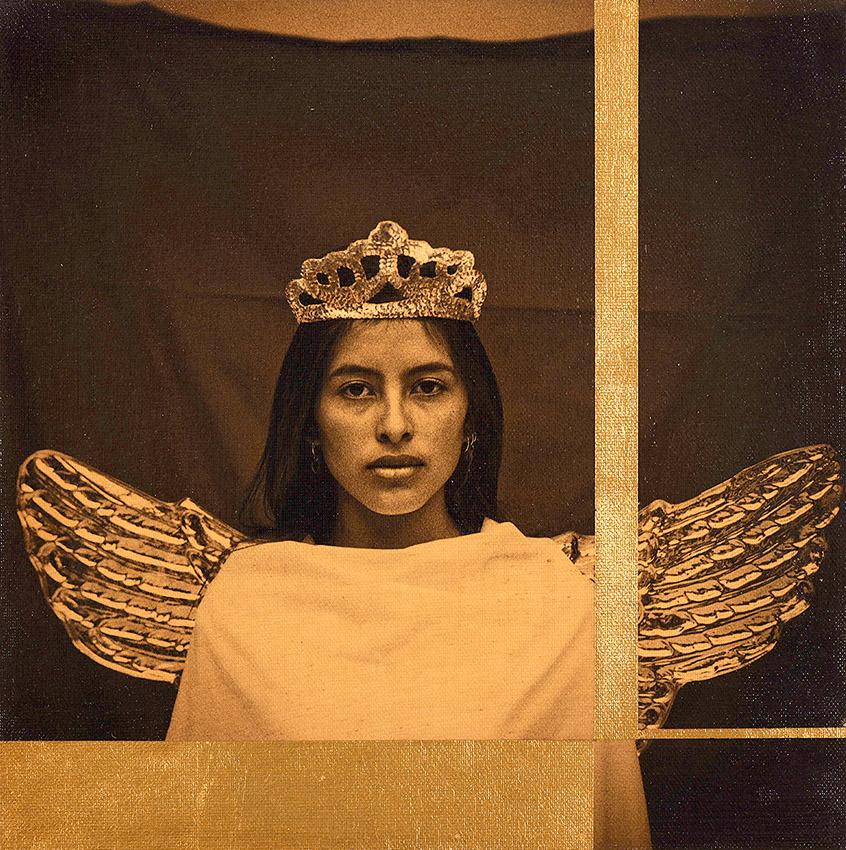 Luis González Palma - Mobius (Hablo con Labios de Silencio), 2019, photograph on canvas, gold leaf, Judea Bitumen, 11.75 by 11.75 inches unframed, edition of 5