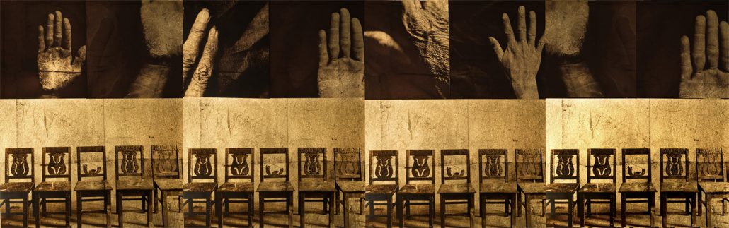 Luis González Palma - Lugar sin Reposo (Place Without Rest), 2012,othochromatic film, gold leaf, hand painted paper, thread, 28.5 by 78.25 inches