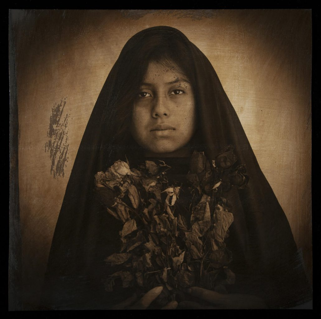 Luis González Palma - Ofrenda, 2011, hand-painted photograph on Hahnemuhle watercolor paper, 20 by 20 inches, edition of 7