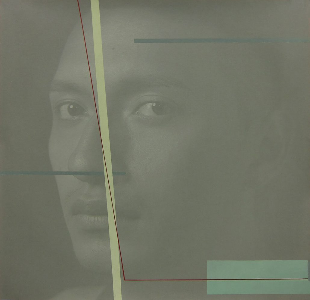 Luis González Palma - Mobius, 2014, photograph printed on canvas, acrylic paint, 20 by 20 inches