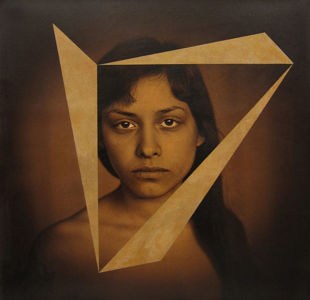 Luis González Palma - Mobius (SOLD), 2014, photograph printed on canvas, acrylic paint, 20 by 20 inches