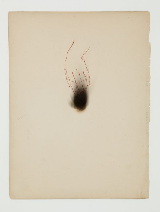 Marie Navarre - Feeling it, 2012, found and de-acidified book page, paper, colored pencil, soot, rag paper, 10 by 8 inches