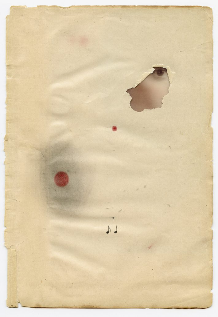 Marie Navarre - Hearing colors, 2013, found de-acidified paper, digital print on vellum, colored pencil, xerox transfer, graphite, rag paper, 9 by 6.25 inches