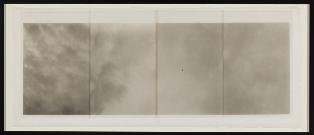 Marie Navarre - No here, no there, 2010, film, mulberry paper, rag paper, silk thread, 18 by 40.5 inches framed