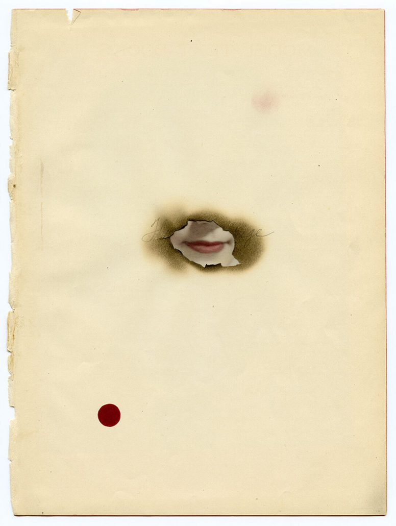 Marie Navarre - Present absence, 2013, found and de-acidified paper, digital print on vellum, soot, graphite, rag paper, 10 by 7.57 inches