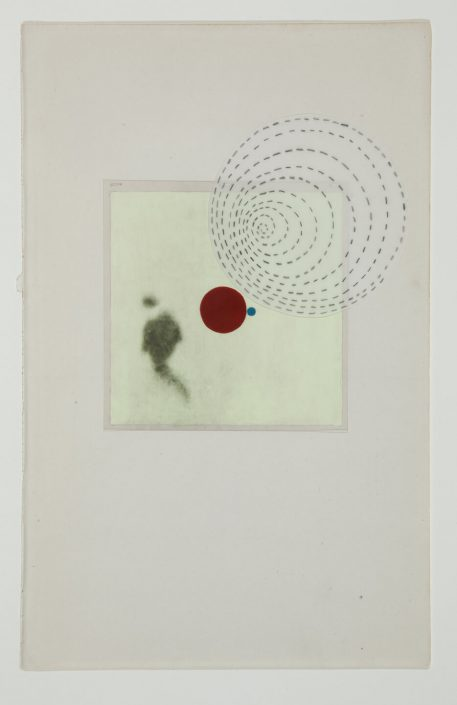 Marie Navarre - Everything speaks, 2012, found and de-acidified book page, rag paper, mylar and graphite, film positive, gouache, silk thread, 10 by 6 inches