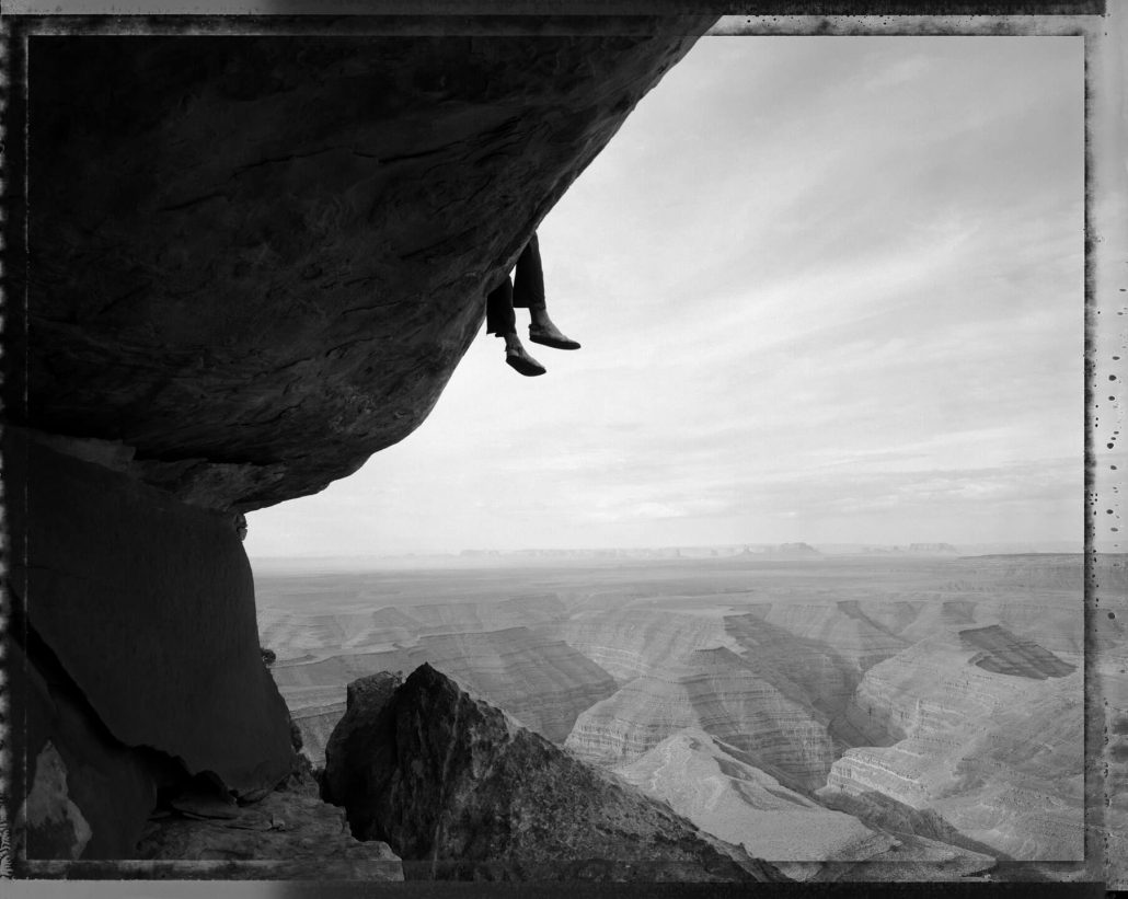 Mark Klett - Contemplating the View at Muley Point, Utah, 5/13/94, 2002, gelatin silver print, 30 by 40 inches