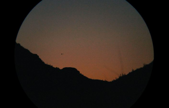 Mark Klett - Helicopter at Dusk through Binoculars, 2013 digital inkjet print, 24 by 36 inches