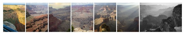 Mark Klett with Byron Wolfe - Panorama from Hopi Point on the Grand Canyon, made over two days extending the view of Ansel Adams, 2007, pigment inkjet print, 24 by 118 inches