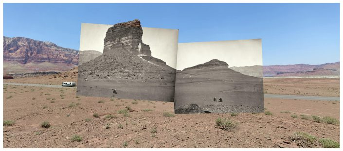 Mark Klett with Byron Wolfe - Rock formations on the road to Lee's Ferry, AZ, 2008, digital inkjet print, 36 by 76 inches