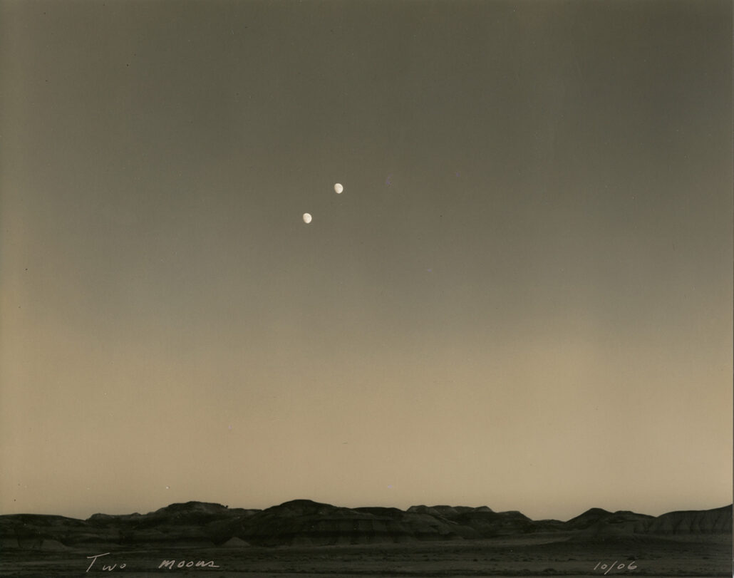 Mark Klett - Two Moons, 2006, toned gelatin silver print, 7.5 by 9 inches