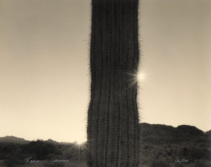 Mark Klett - Two Suns, 2006, toned gelatin silver print, 7.5 by 9 inches