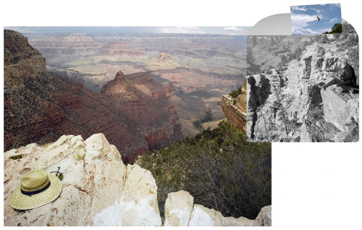 Mark Klett with Byron Wolfe - View from the south rim of the Grand Canyon with Thomas Moran and California Condor number 302, 2008, digital inkjet print, 24 by 24 inches