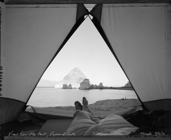 Mark Klett - View from Tent at Pyramid Lake 9/16/00, 2000, gelatin silver print, 16 by 20 inches