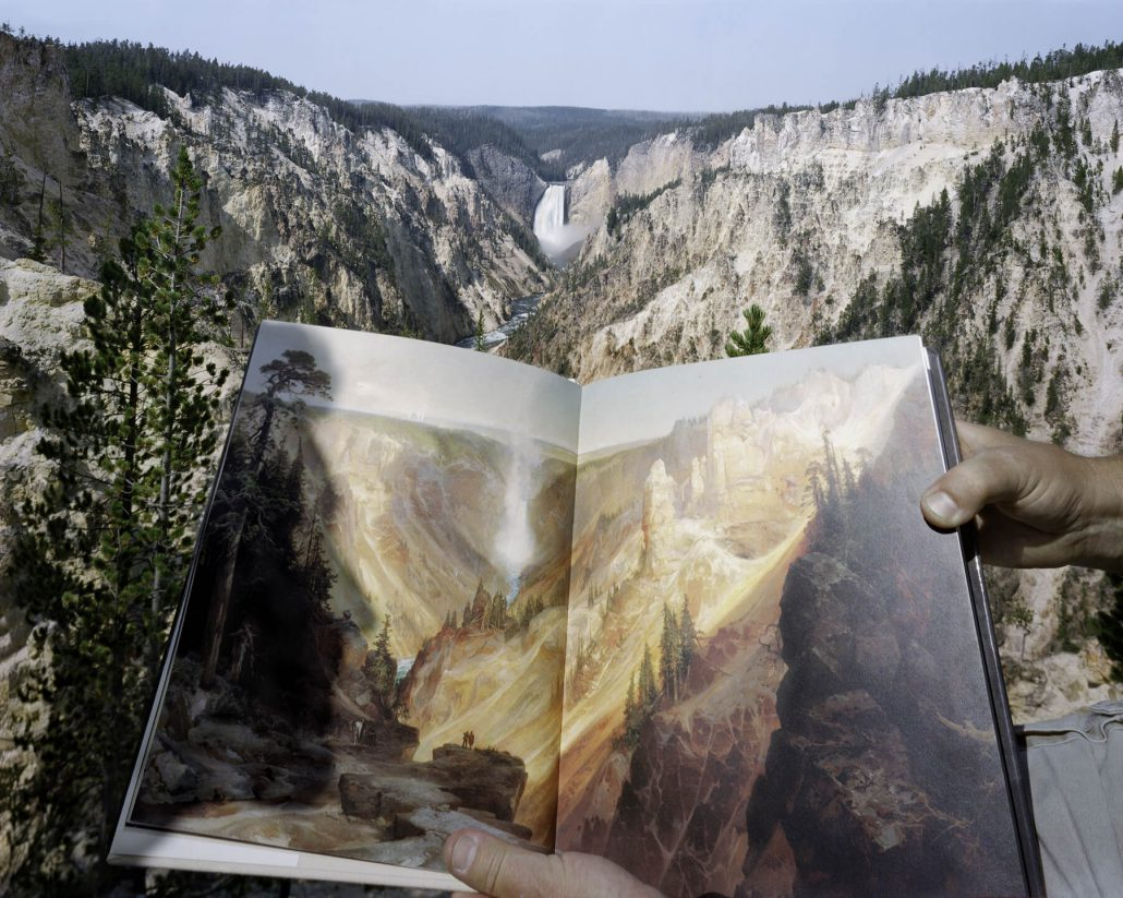 Mark Klett - Viewing Thomas Moran at the source, Artist's Point, Yellowstone, 8/3/00, 2000, pigment inkjet print, 20 by 24 inches