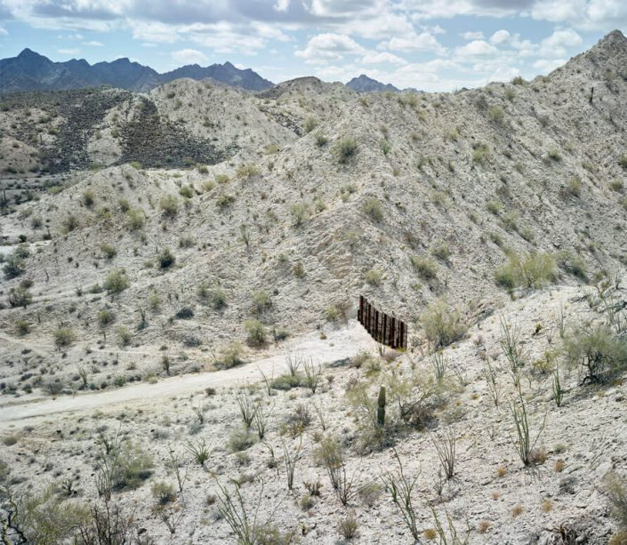 Mark Klett - Fence separating the US/Mexico border south of the Gila Mountains, May 2015, 2015, pigment print, edition of 20, Available in three sizes: 23 by 30.5 inches, 26 by 35 inches, and 37.5 by 50 inches