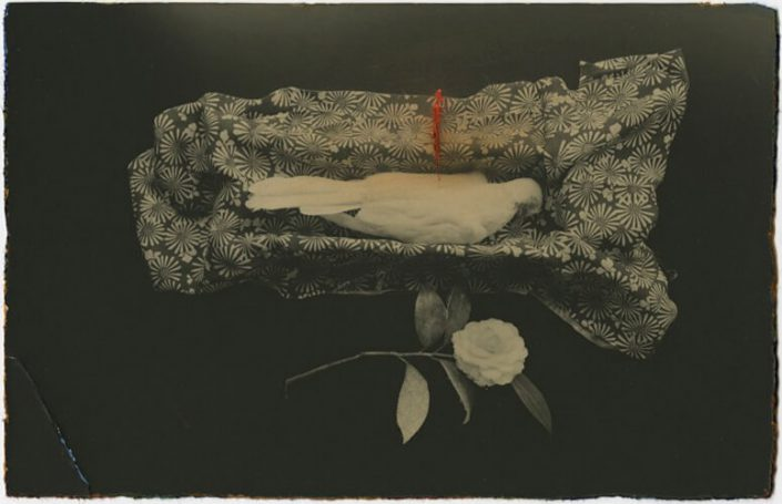 Masao Yamamoto - 49, n.d., gelatin silver print with mixed media, 3.25 by 5 inches