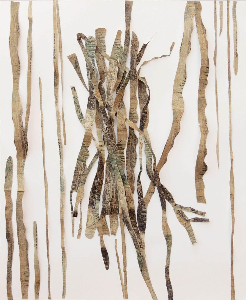 Máximo González - Cascarria, 2009, collage: out-of-circulation currency, 18 by 15 inches framed