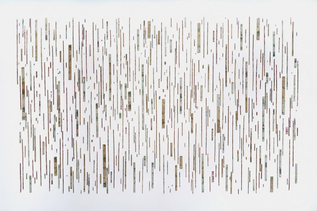 Máximo González - Ascenso/Ascent (SOLD), 2018, mural installation: 507 elements: out-of-circulation currency, foamboard, pins, approximately 8 by 12 feet