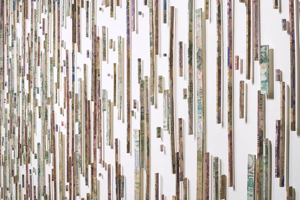 Máximo González - Ascenso/Ascent (detail) (SOLD), 2018, mural installation: 507 elements: out-of-circulation currency, foamboard, pins, approximately 8 by 12 feet