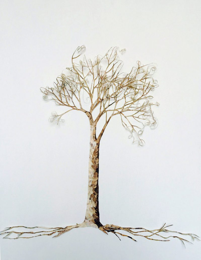 Máximo González - Curly Tree (SOLD, 2009, collage: out of circulation money, 36 by 29 inches framed