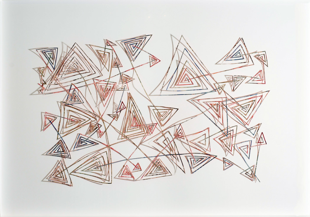 Máximo González - Designios Insondables / Unsearchable Designs, 2016, collage: out-of-circulation currency, 36 by 50 inches framed