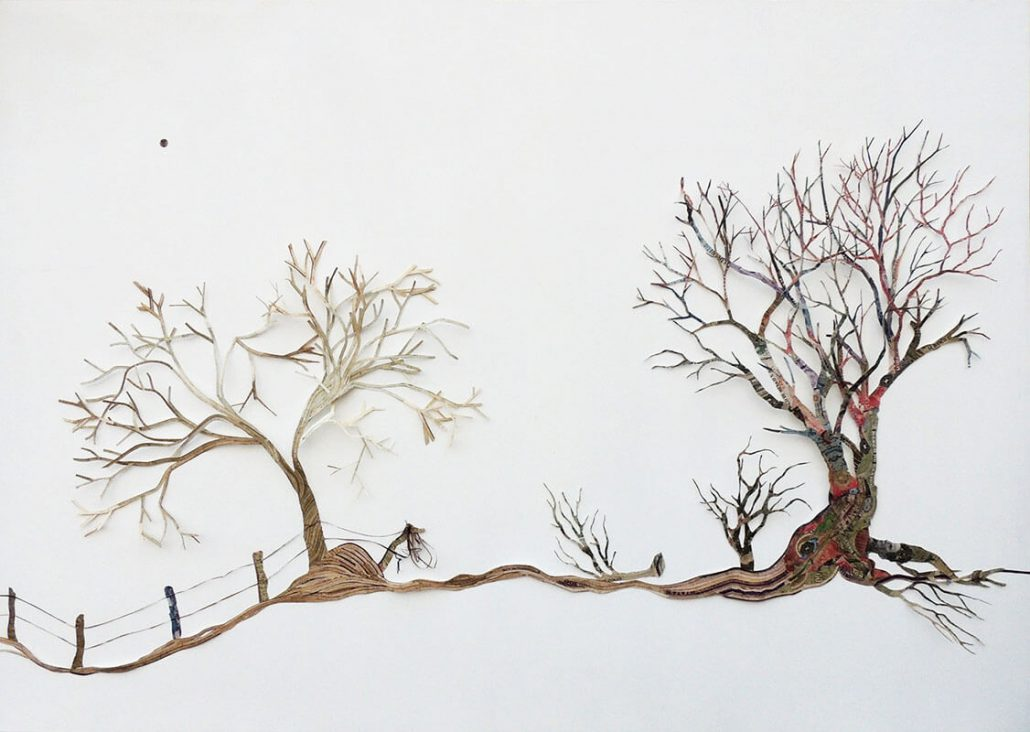 Máximo González - Yo Era Ese Arbol (I Was That Tree)(SOLD), 2016, collage: out-of-circulation currency, 35 by 49 inches