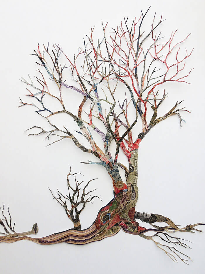Máximo González - Yo Era Ese Arbol (I Was That Tree) (detail)(SOLD), 2016, collage: out-of-circulation currency, 35 by 49 inches