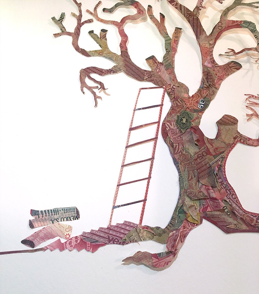 Máximo González - Ladder Tree (detail), 2019, collage: out-of-circulation currency, 24 x 32 inches