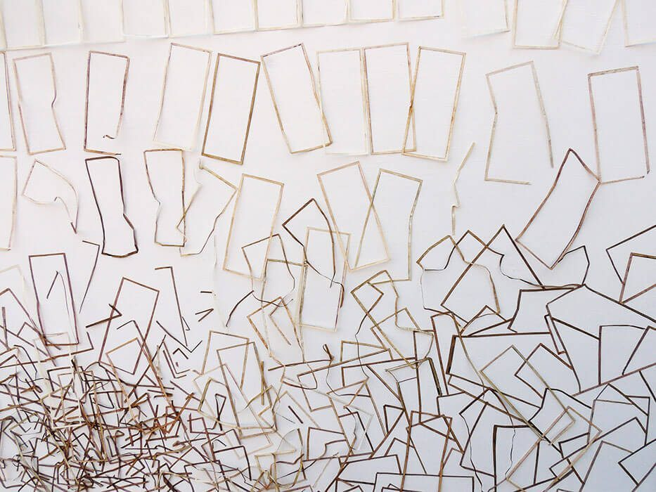 Máximo González - Nueva Democracia (New Democracy) (detail) (SOLD), 2016, collage: out-of-circulation currency, 56 by 48 inches