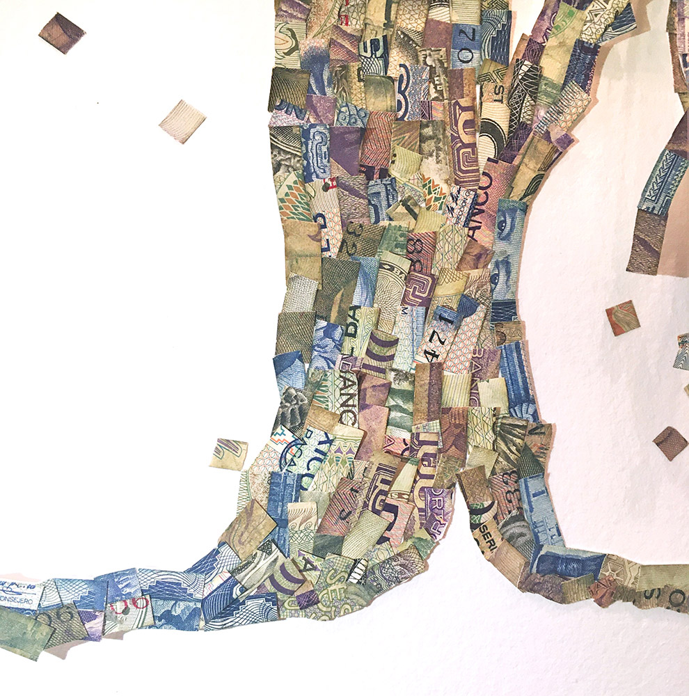 Máximo González - Pixel Tree (detail), 2019, collage: out-of-circulation currency, 24 x 20 inches