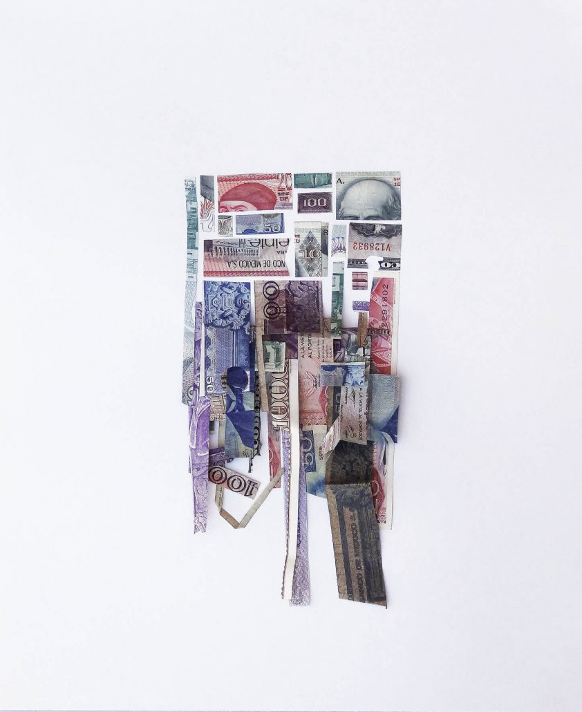 Máximo González - Devaluacion (Devaluation), 2014, collage: out-of-circulation currency, 18 by 15 inches framed