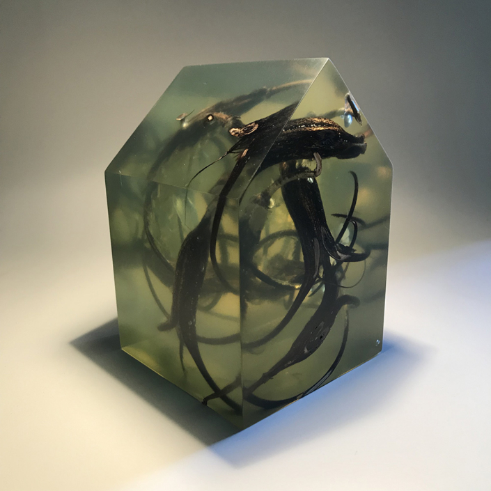 Mayme Kratz - Devil's Claw Dwelling, 2020, resin and devil's claws, 6 x 4 x 4 inches