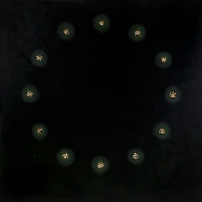 Mayme Kratz - Sometimes the Darkness, 2013, resin and magnolia cross sections on panel, 60 by 60 inches