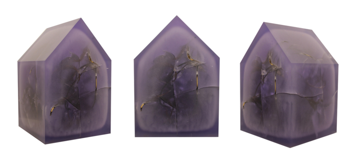 Mayme Kratz - Ghost House 5 (shown in three angles), 2019, resin and devil's claws, 14 by 9 by 9 inches
