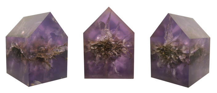 Mayme Kratz - Ghost House 6 (shown in three angles), 2019, resin and nest, 14.5 by 11.25 by 10.25 inches